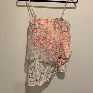Anthropologie Romantic Floral Silk Top by Maeve